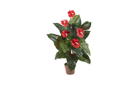 Nearly Natural 3' Anthurium Silk Plant Red 1de3af8d-c025-4dd3-959c-6e76eb5bc7e6