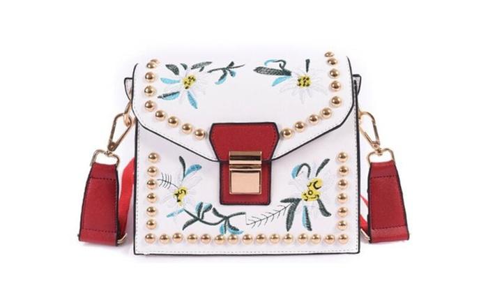 Fashion Embroidery Small Square Bag Buckle Female Bag