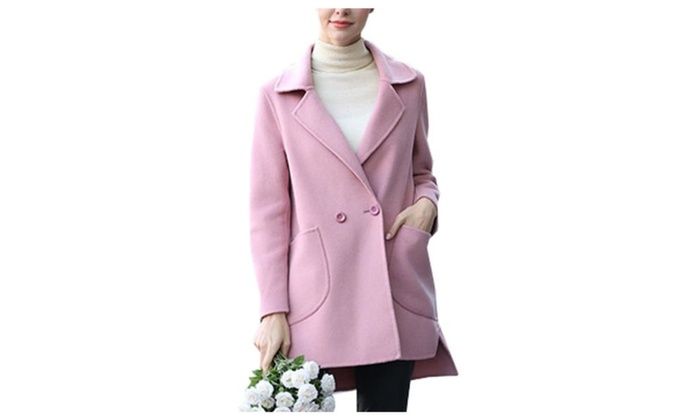 Women's Simple Buttons Up Casual Solid Regular Fit Wool Coat