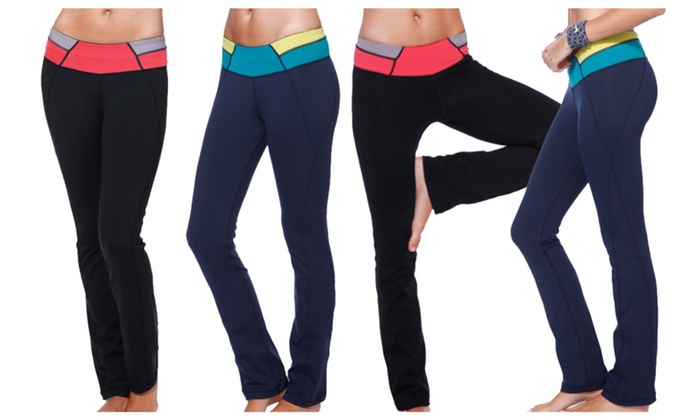 0a25aabdf2 Nikibiki Women's Colorblock Contrast Yoga Pants Slim Fit Flare Pants ...
