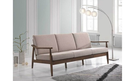 Venza MCM Walnut Wood Faux Leather/Light Brown Seating