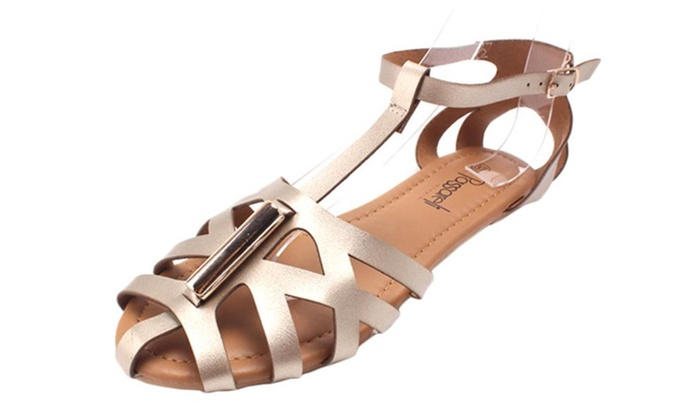 Women's Peep Toe Hollow Out Gladiator Sandals Flats