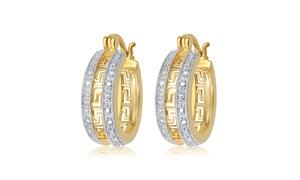 14K Gold Plated Diamond Accent Greek Key Hoop Earring-KE18047CYSC