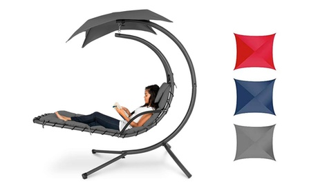 Outdoor Hanging Curved Steel Chaise Lounge Chair Swing