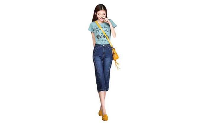 Women's Mid Rise Straight Slim Look Cropped Jean