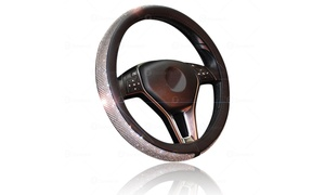 Zone Tech Bling PU Leather Rhinestone Steering Wheel Cover Crystal