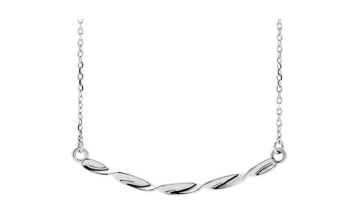 """Twisted Ribbon Bar 16-18/"""" Necklace In 14K Yellow Gold"""