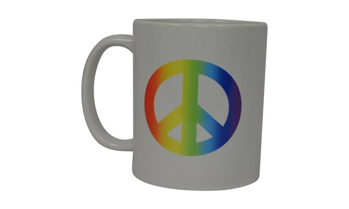 Coffee Mug Rainbow Peace Sign Love Pride Novelty Cup Gift