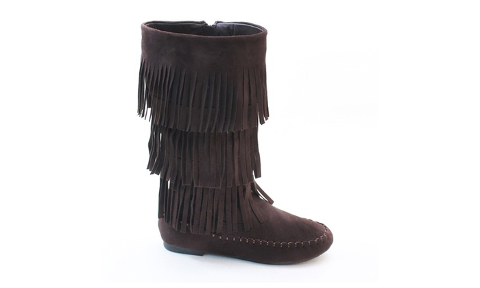 Fringe 3 Layer Moccasin Knee High Mid Calf Tall Vegan Boot