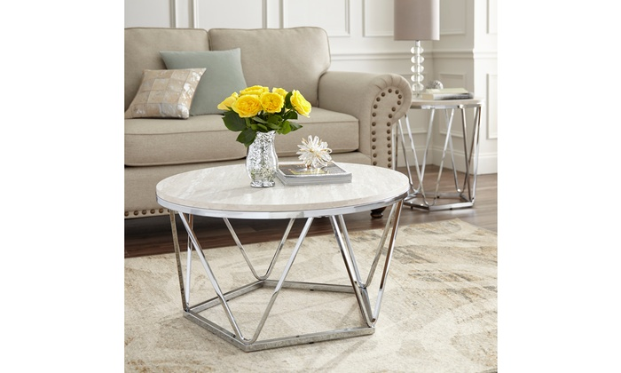 Luna Faux Stone Round Coffee Table
