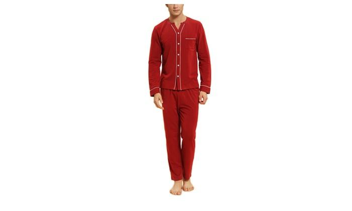 DPN Men's Fashion Relaxed Stretchy Long Sleeve V Neck Pajama Sets