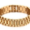 Luxury Gold-Color Stainless Steel Strap Links Cuff Bracelets