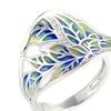 Transparency Enamel Leaf  White Cubic Zirconia Stone Women Ring
