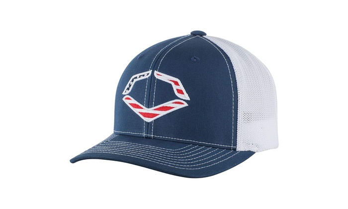 2b37ecc1a2f07 EvoShield USA Flexfit Trucker Hat-Navy White Mesh