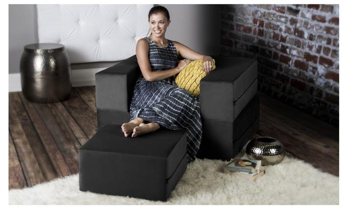 Jaxx  Zipline Convertible Sleeper Chair U0026 Ottoman (Twin Size ...