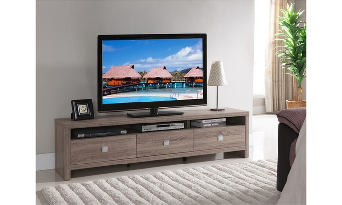 Lcd Tv Stand Designs Kerala : Mila quot drawer light oak media stand groupon