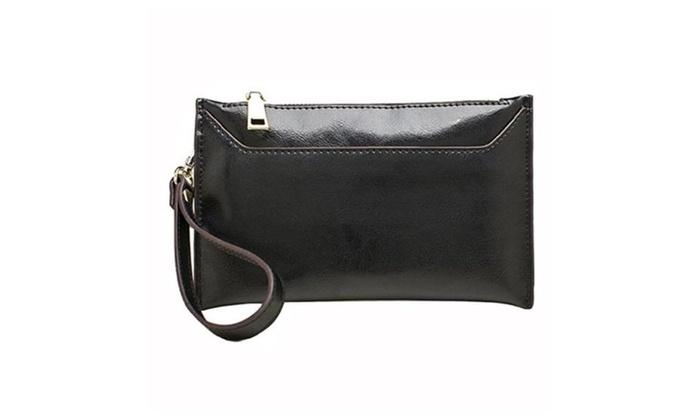 Leather Wristlet Wallet for Ladies Fashion Clutch Purses