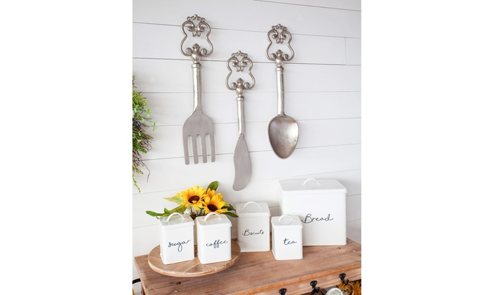 Steel Kitchen 5 Piece Canister Sets, Grey or White | Groupon