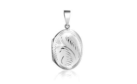 Bling Jewelry Etched Oval Polished Finish 925 Silver Locket Pendant 334a0068-23b6-4c93-9485-3827e6c411c7