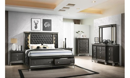 Milas 5 Pieces king Size Bedroom Set With Tufted Headboard and LED lights