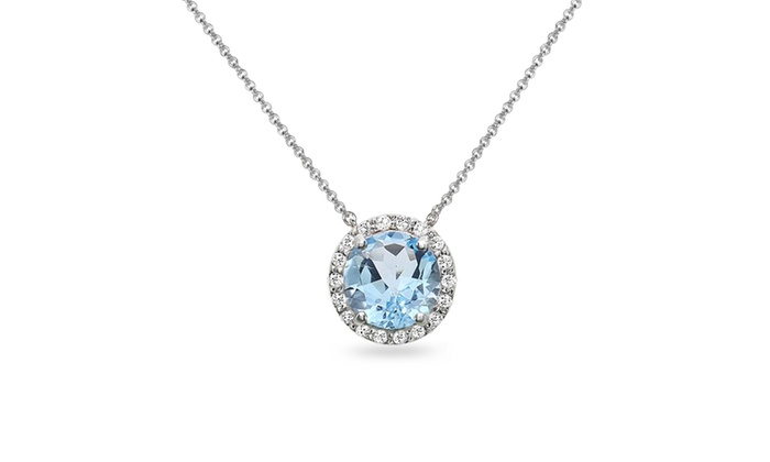 Sterling silver blue and white topaz halo slide pendant necklace groupon goods sterling silver blue and white topaz halo slide pendant necklace aloadofball Image collections