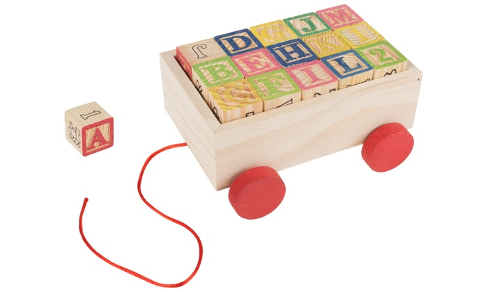 ABC And 123 Wooden Blocks Set With Pull Cart Box (31 ...