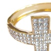 Gold Crystal Rhinestone Multi Row Cross Cuff Bangle Bracelet