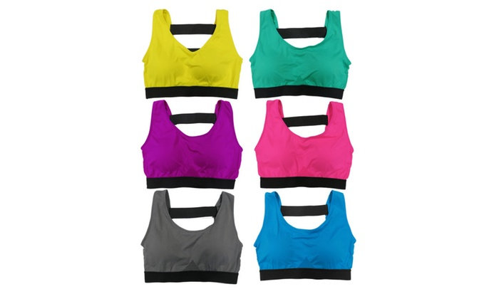 Women 6 Pack Solid Color Double Back Bands Athletic Sports Yoga Bras