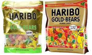 Haribo gold-bears gummi candy and sour gold bears
