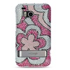 Insten Flower Hard Diamond Case with Stand For HTC ThunderBolt 4G Hot Pink White