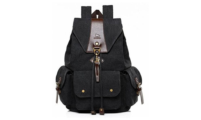 MANJH Men and Women Canvas Backpack Retro Casual Rucksack Hiking Daypack