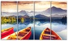 Boats Heading to Lake Landscape Metal Wall Art 48x28 4 Panels