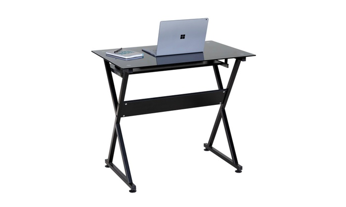 Comfort Products Ultramodern Gl Computer Desk Pull Out Keyboard