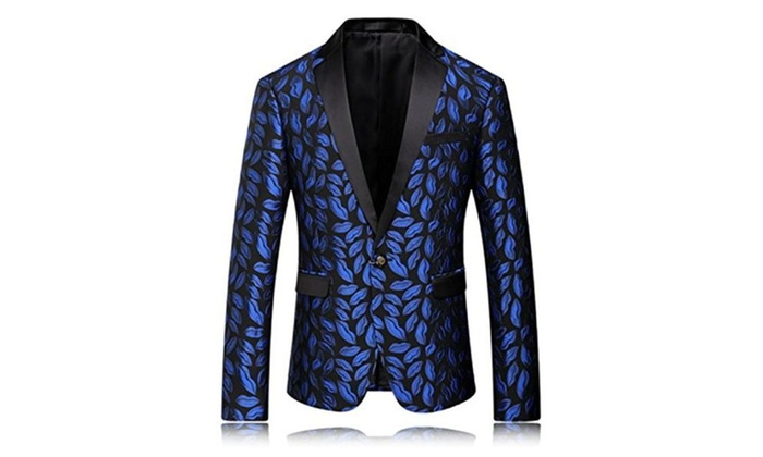 5e109f27b8d0 Vazpue Suits Mens Printed Blazer Pattern Prom Blazers Men Suit ...