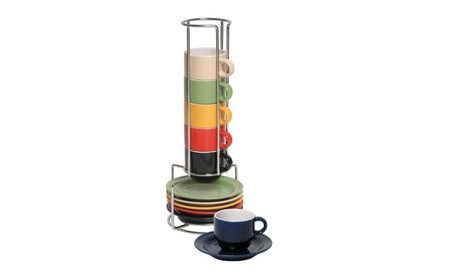 Espresso cups and saucers set 13 Pc colorful stacking mugs a6b2bf8d-85b0-43e2-a956-12868044eb49