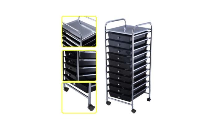 10 Drawer Rolling Storage Cart Scrapbook Paper Office School Organizer