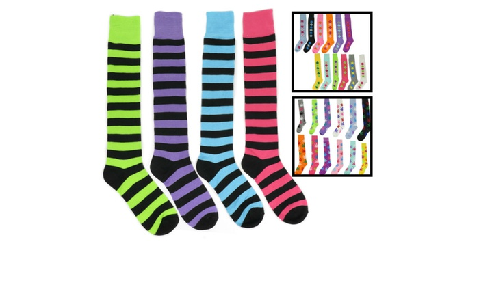 Women's Fun Funky Colorful Cotton Comfortable Knee High Socks