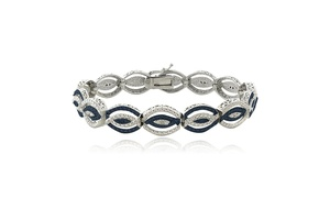 1/4 Ct Blue & White Diamond Intertwining Infinity Bracelet