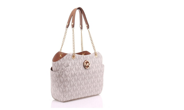 52d53890397d Michael Kors Jet Set Travel Large Chain Shoulder Tote Handbag Vanilla |  Groupon