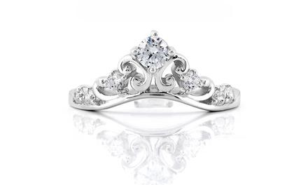 1/2 CTTW Diamond Princess Tiara Crown Ring in Sterling Silver by AdoraDiamonds