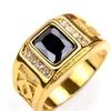 Gold Color Black Stone Cubic Zirconia Unisex Rings