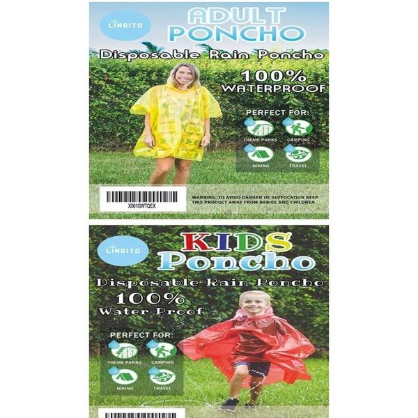 Lingito 20 Pack of Family Rain Ponchos