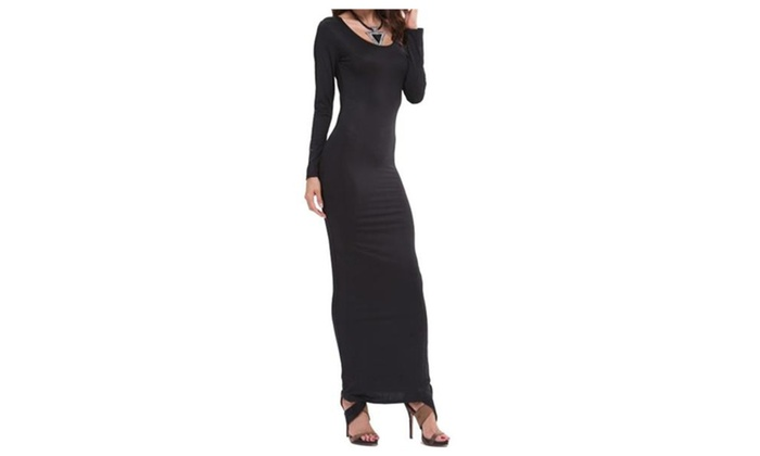 Women's Basic Solid Long Sleeve Stretchy Bodycon Long Maxi Dress