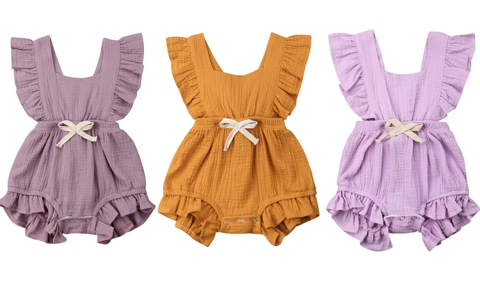 0c679cb9c Newborn Baby Girl Bodysuits Cotton Flutter Sleeve One-Piece Romper Outfits