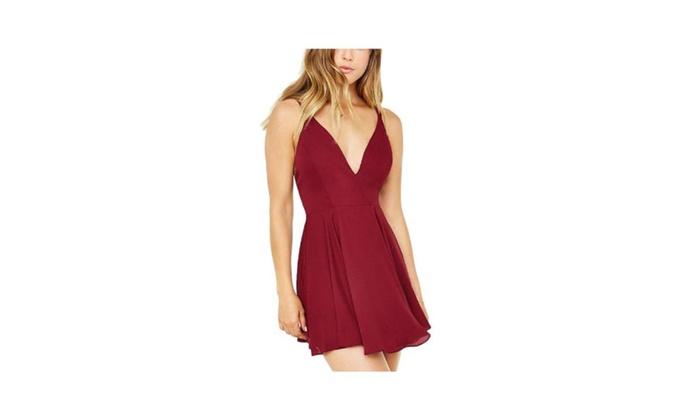 Women's Stylish Flare Sleeveless Solid Deep V Neck Dress
