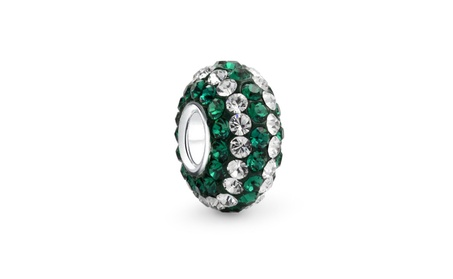 Bling Jewelry 925 Silver Green and White Stripe Crystal Bead dff4c570-a6be-4354-a181-409edbee2a58