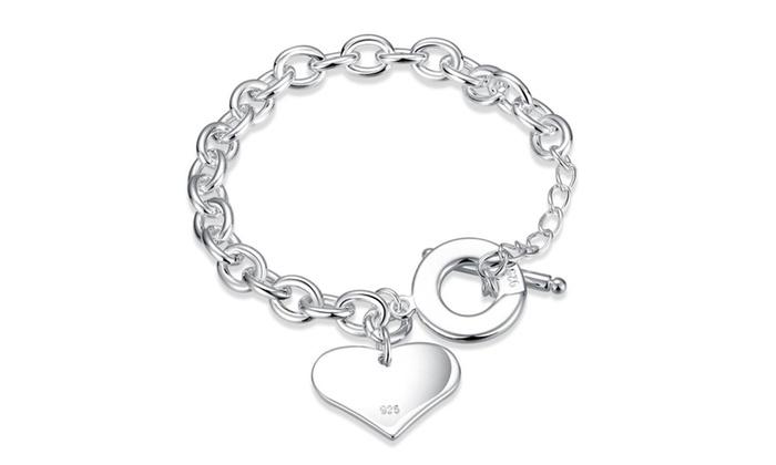 Sterling Silver Heart Toggle Clasp Bracelet