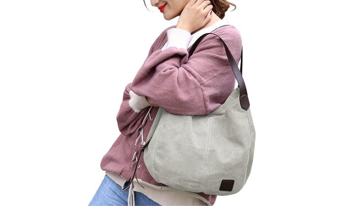 18f3367eabc42 Fashion Women's Multi-pocket Cotton Canvas Handbags Shoulder Bags Totes  Purses