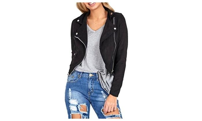 Punican Womens Winter Slim Motorcycle Leather Jacket Zipper Coat