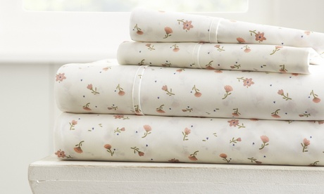 Feathered Nest Premium Ultra Soft 4 Piece Printed Bed Sheet Set